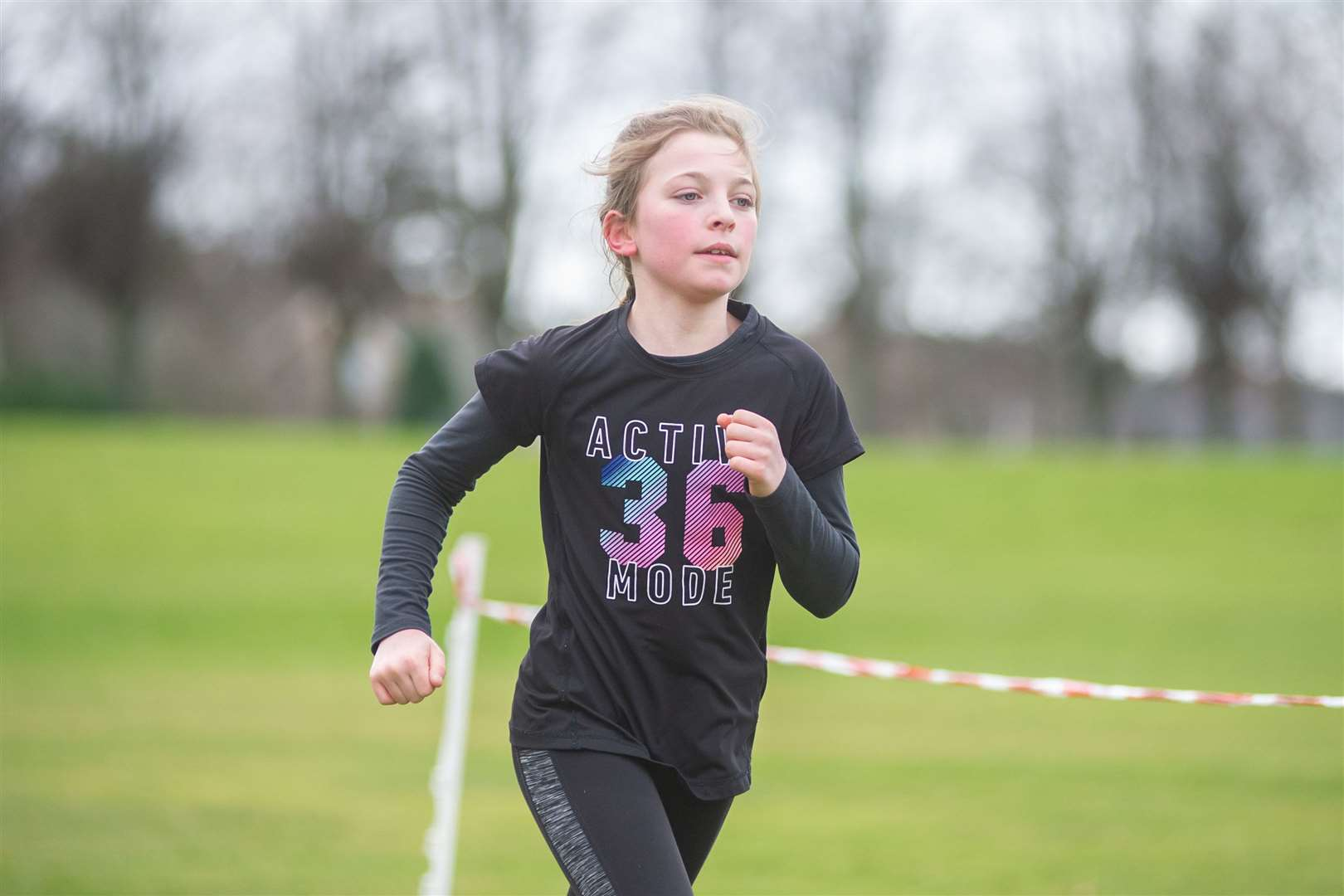 1st overall in the Primary 6-7 Girls race - Maria Rhind from Kinloss Priamry School. ..Forres Harriers' organised Forres Primary Schools Cross Country, held at Grant Park, Forres...Picture: Daniel Forsyth..