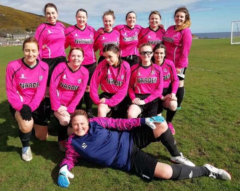 Nairn Ladies following their recent 2-2 draw with Brora. Their next game, a home tie against Buckie is on April 28.