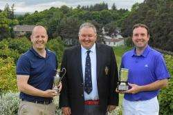 Allan Martin (left), winner of the CS Stark handicap championship with club captain Robert McKerron and club champion Bryan Fotheringham (right).