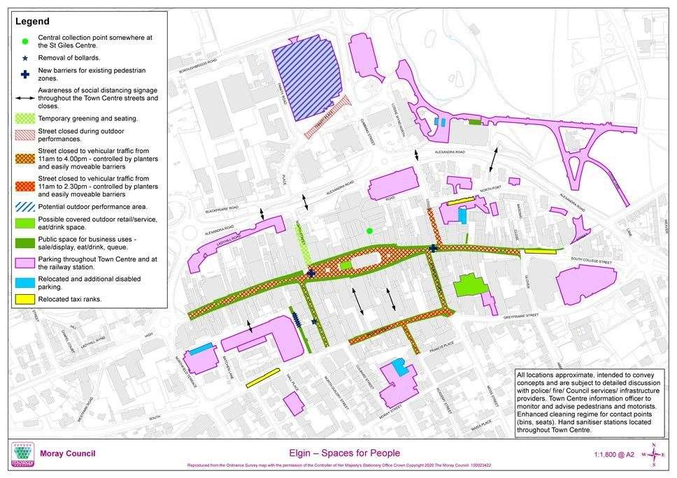 Moray Council's proposals include restrictions on traffic in town-centre streets, more outdoor space for businesses and parking changes.
