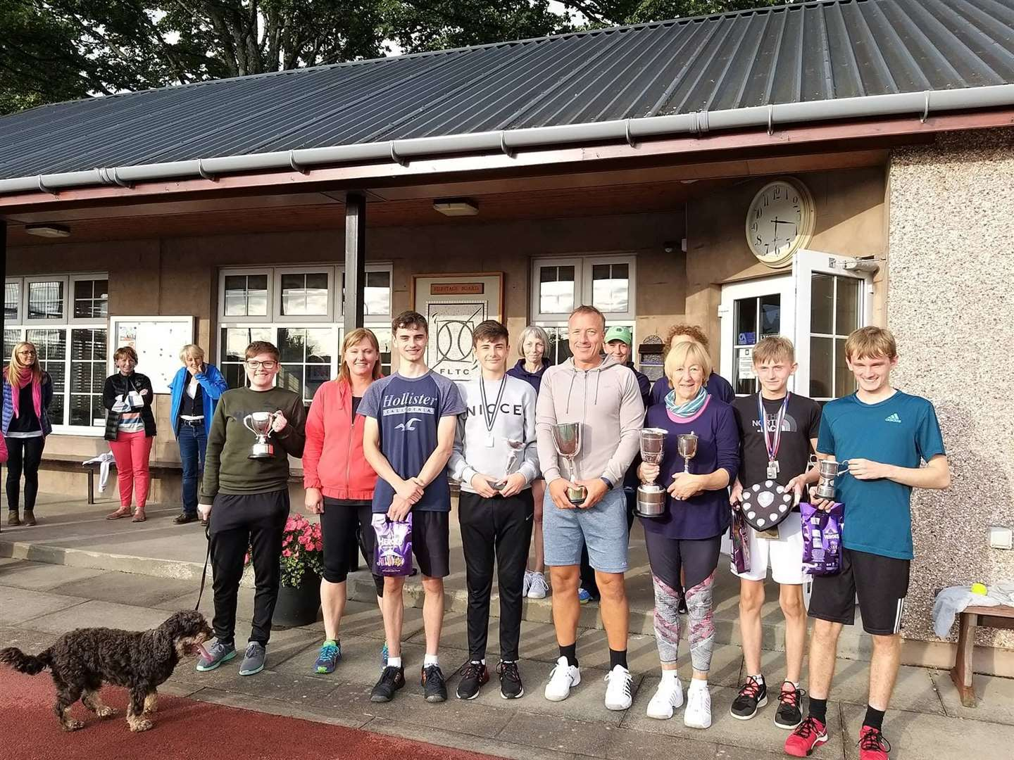 All the trophy winners at the Forres Tennis Club championships.