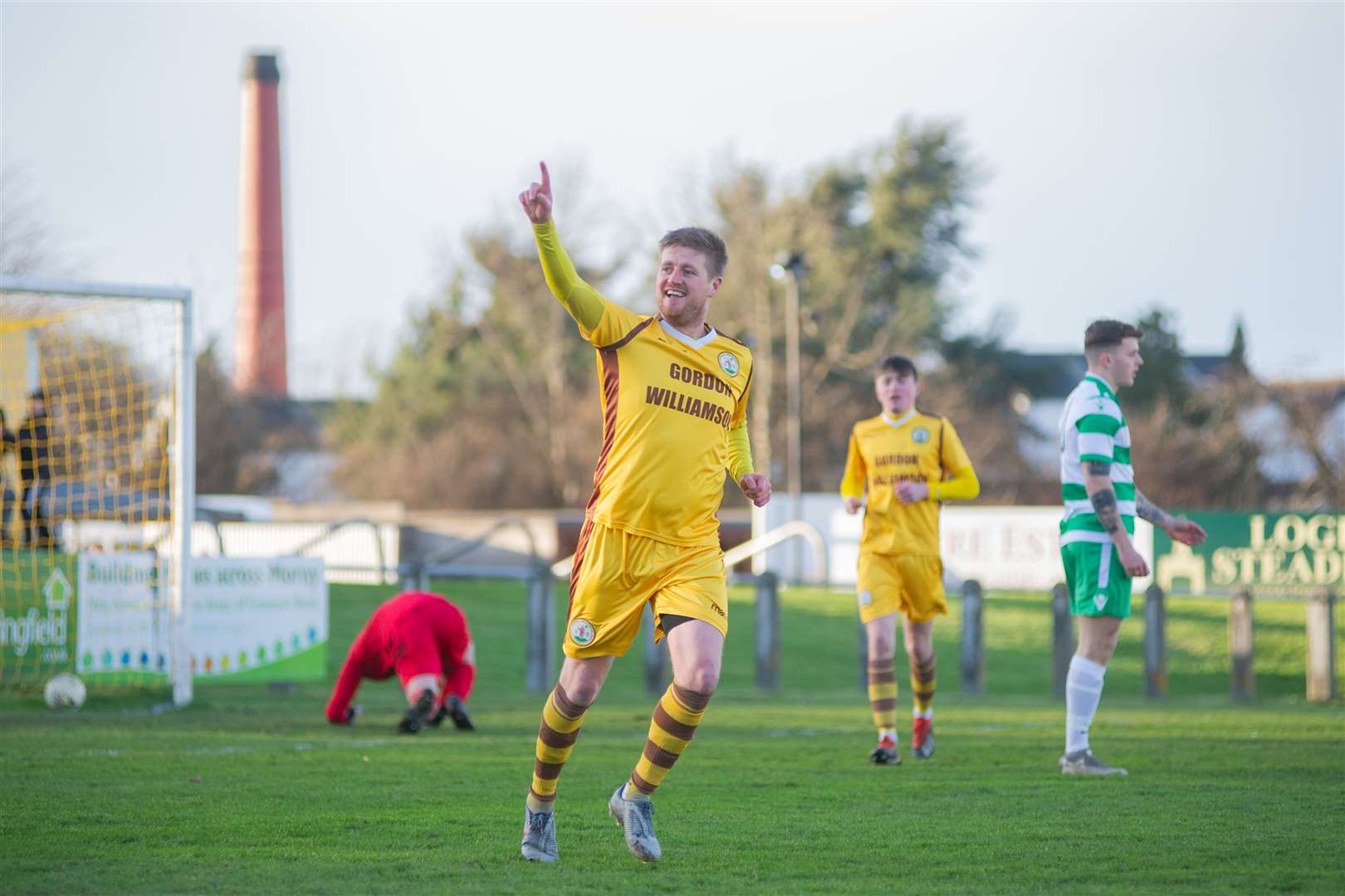 Forres Mechanics' Robert Duncanson wheels away to celebrate opening the scoring for the homeside...Forres Mechanics FC (2) vs Buckie Thistle FC (2) - Highland Football League - Mosset Park, Forres 08/02/2020...Picture: Daniel Forsyth..
