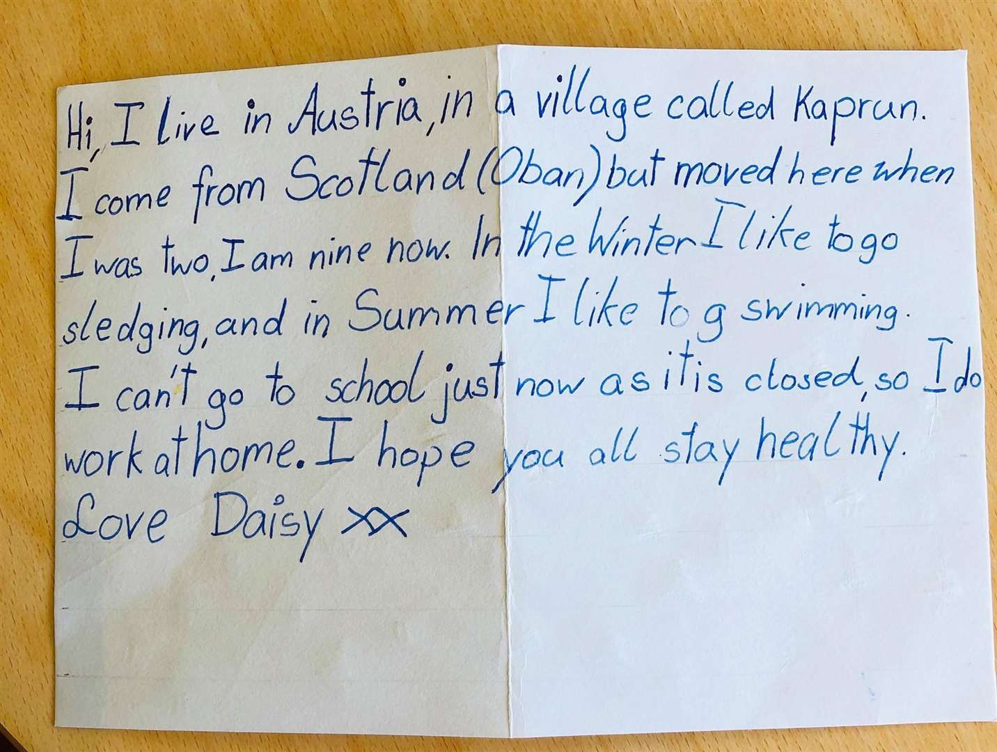 A heart-warming letter introducing a new pen pal for the residents.