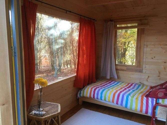 The inside of one of the retreat cabins.