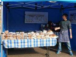 One of the stall holders at the Farmers Market where trade is dismal